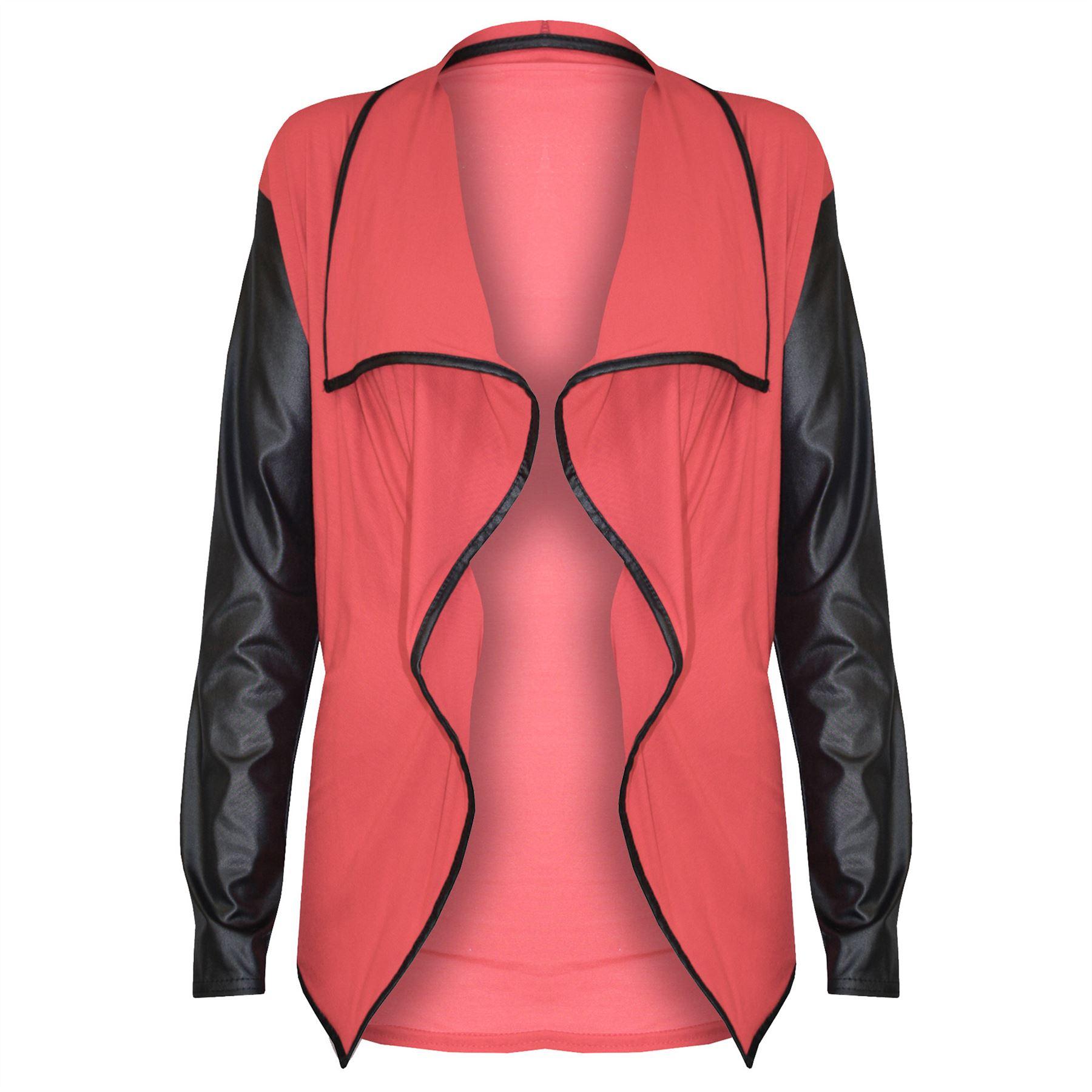 Womens-Ladies-Open-Waterfall-PVC-Wet-Look-Long-Sleeves-Front-Blazer-Cardigan-Top thumbnail 13