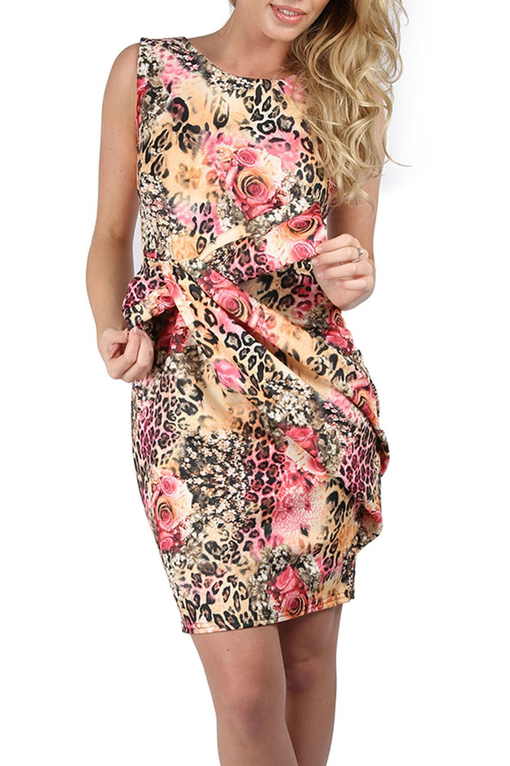 Womens Ladies Floral Print Sleeveless Pleated Big Bow Knot ...