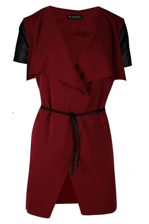 Donna LONG SLEEVE Cravatta Nodo Cintura Cascata Cape Blazer Cardigan