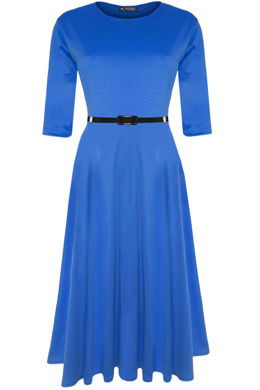 Womens-Skater-Dress-Ladies-Belted-Cap-Sleeve-Flared-Swing-Plus-Size-Midi-Dresses