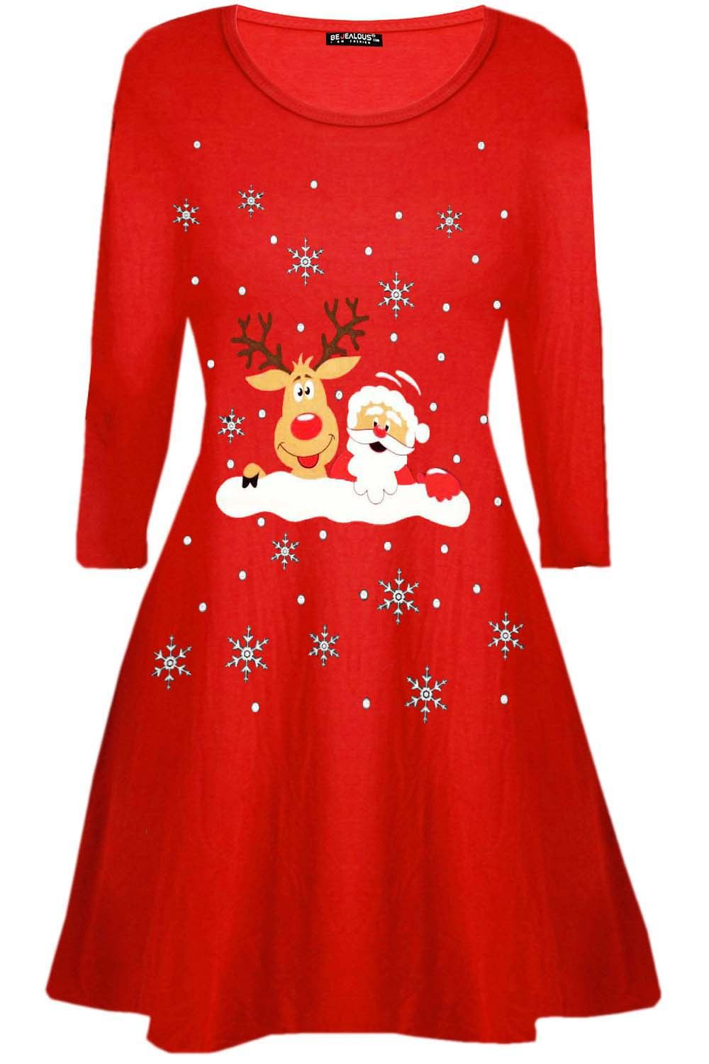Womens-Ladies-Kids-Girls-Christmas-Xmas-Santa-Reindeer-Flared-Swing-Mini-Dress thumbnail 11