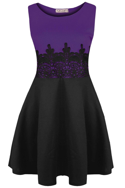 Womens Ladies  Sleeveless Belted Franki Top Flared Contrast Swing Skater Dress