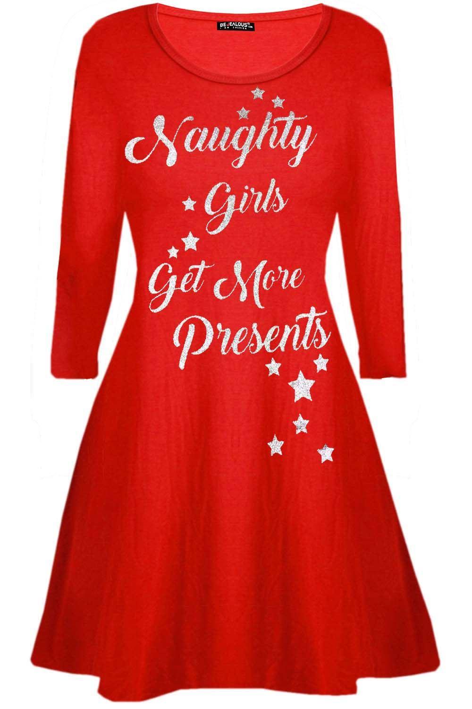Womens-Ladies-Christmas-Xmas-Santa-Face-Gifts-Reindeer-Flared-Swing-Mini-Dress thumbnail 7