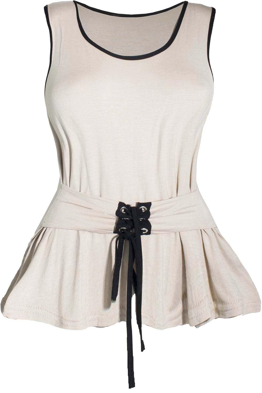 Mujeres señoras sin mangas Corsé de encaje Tie Nudo Ojal Columpio Con Cinturón Camiseta Top