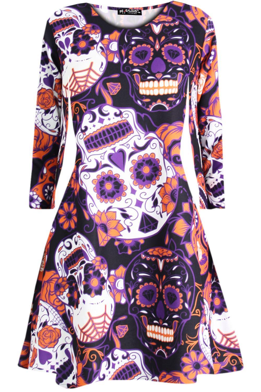 Womens-Ladies-Spooky-Full-Sleeve-Halloween-Skull-Cats-Skull-Party-Swing-Dress miniature 11