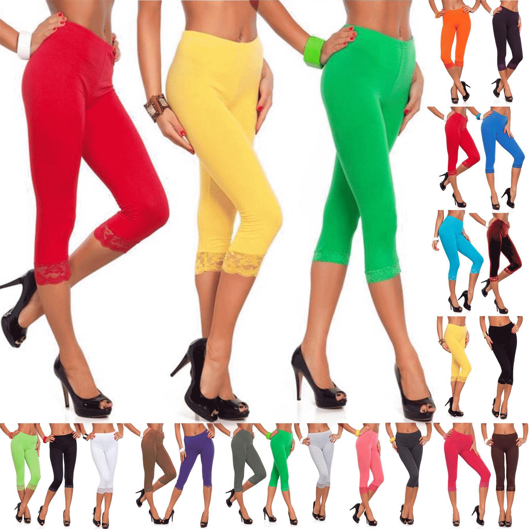 Womens Ladies 3/4 Length Lace Trim Edge Cropped Jog Bottoms Jeggings Leggings