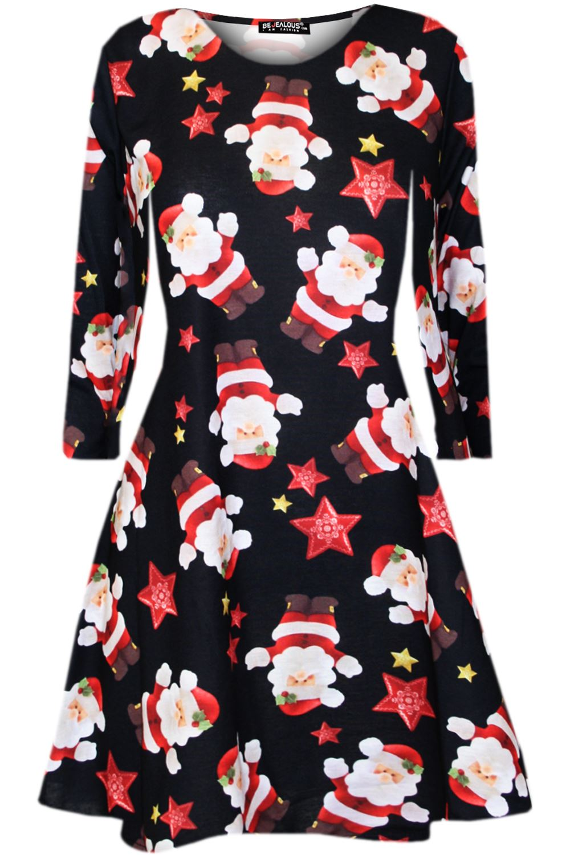 Enfants Filles à Manches Longues Ruban Candy Stick Enfants Noël Évasé Swing Mini Robe