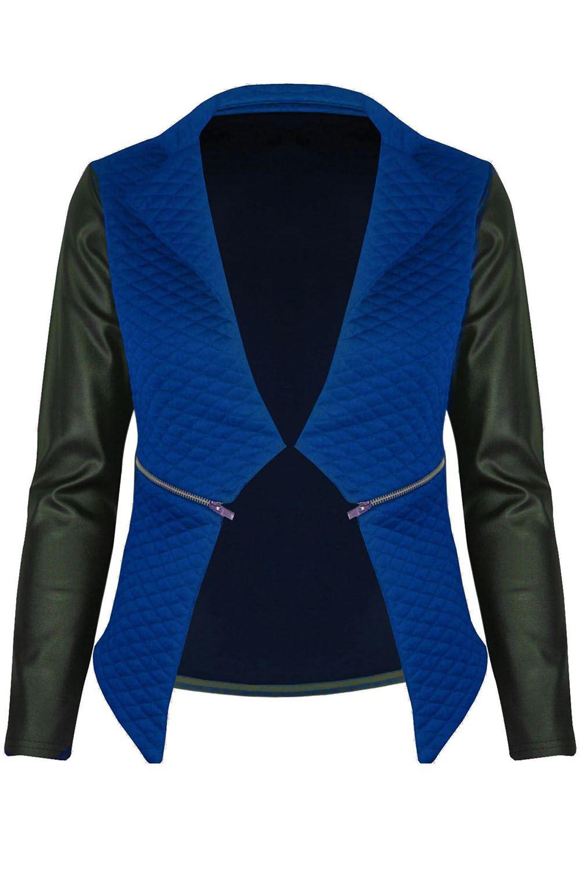 New-Womens-Ladies-Quilted-PVC-Long-Sleeves-Zip-Blazer-Top-Waterfall-Jacket-Coat thumbnail 11