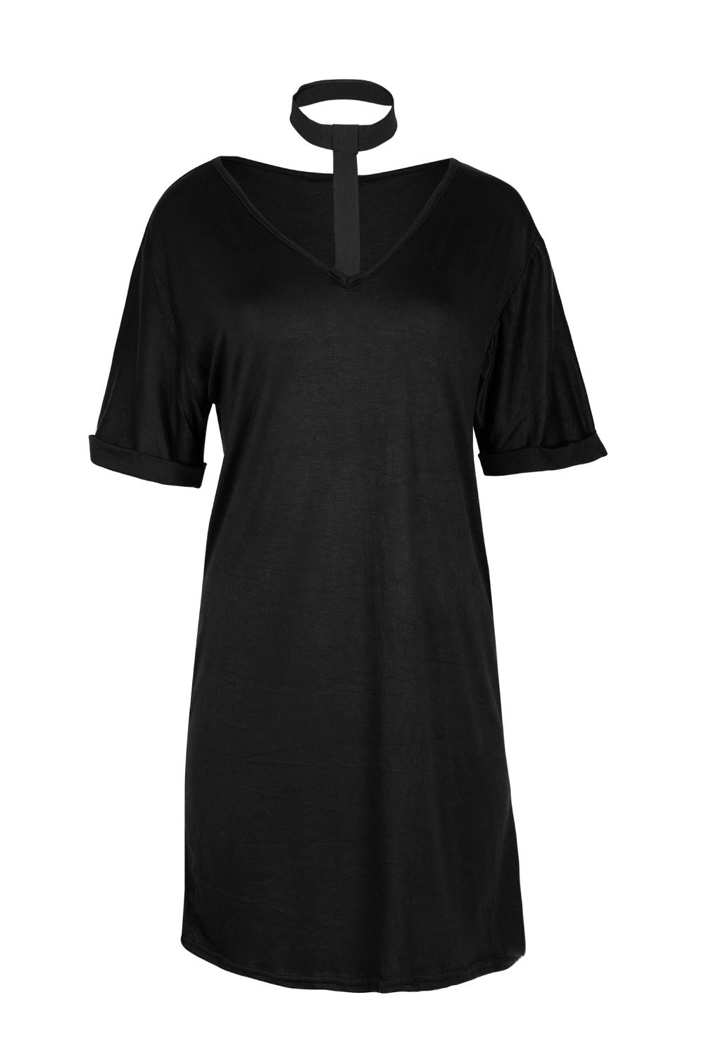 Black t shirt dress ebay - Women Ladies Choker V Neck Turn Up Sleeve