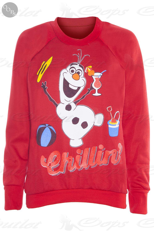 Womens Christmas Sweatshirt Ladies Xmas Jumper Present Reindeer ...