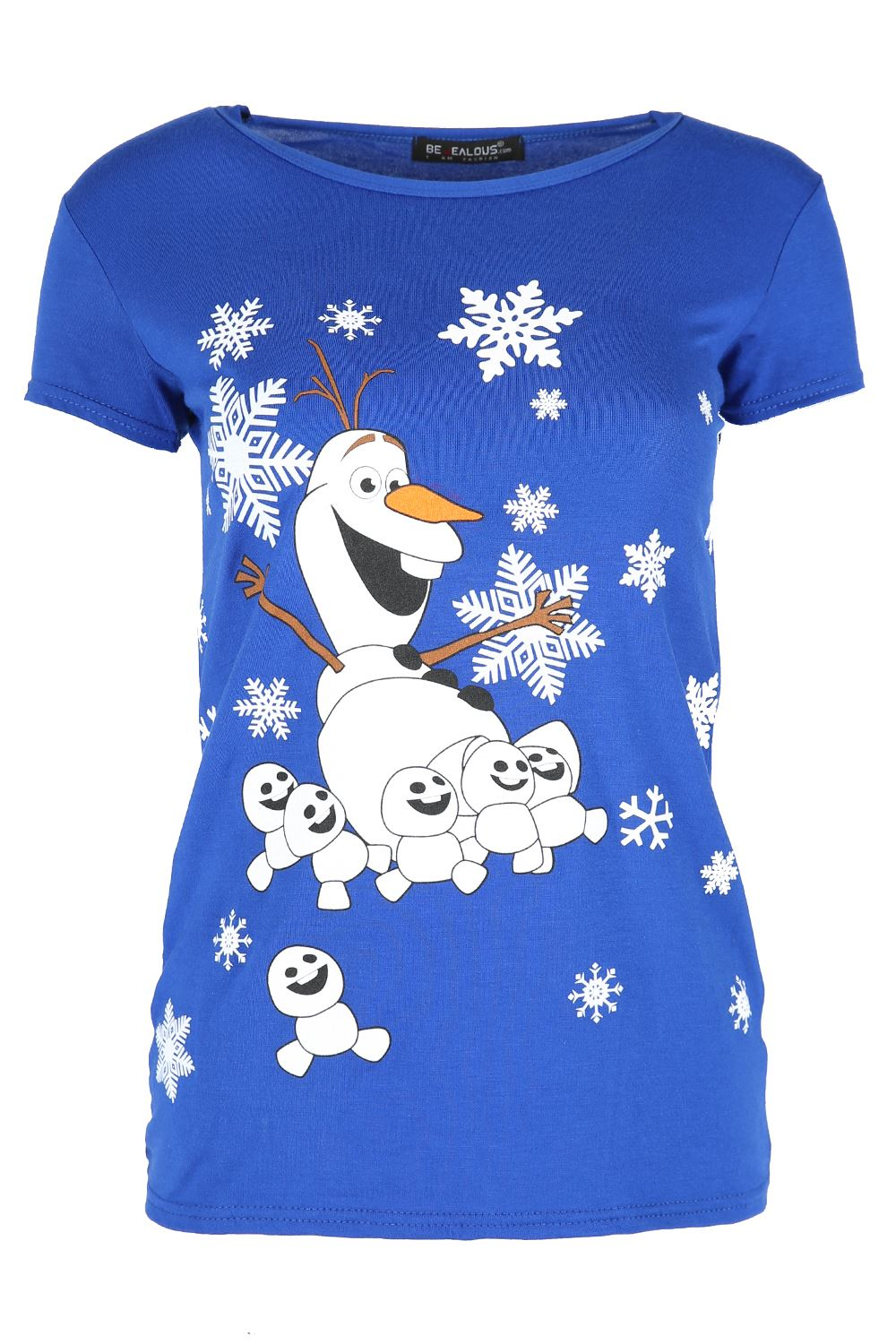 Womens-Ladies-Xmas-Reindeer-Wall-Snowfall-Jersey-Stretch-Christmas-T-Shirt-Top