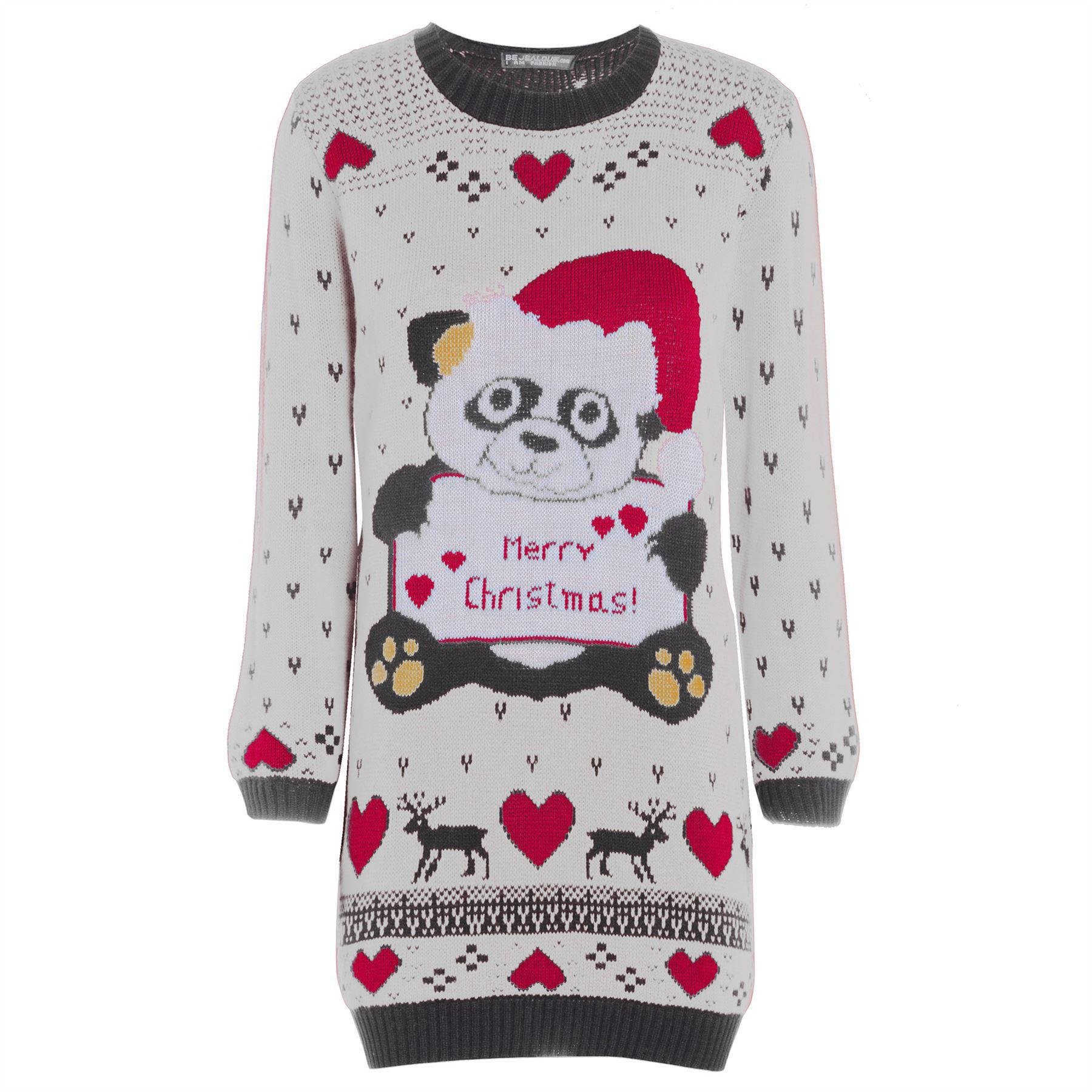 Womens Ladies Snowman Xmas Christmas Tree Knitted Dress Sweater Long Jumper T...