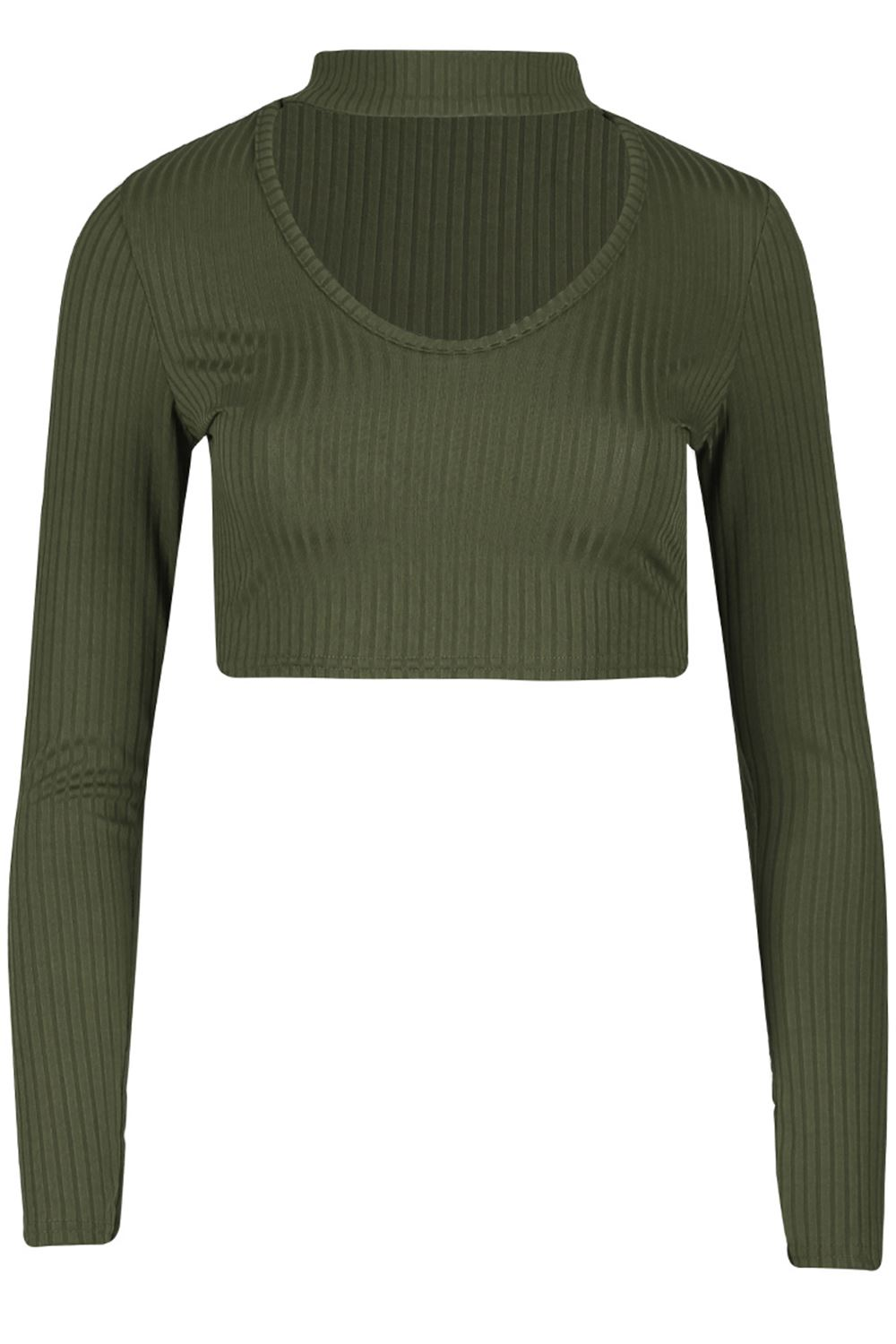 62ee14f67deca Details about Womens Ribbed Choker Neck Keyhole V Cut Out Ladies Pullover Long  Sleeve Crop Top