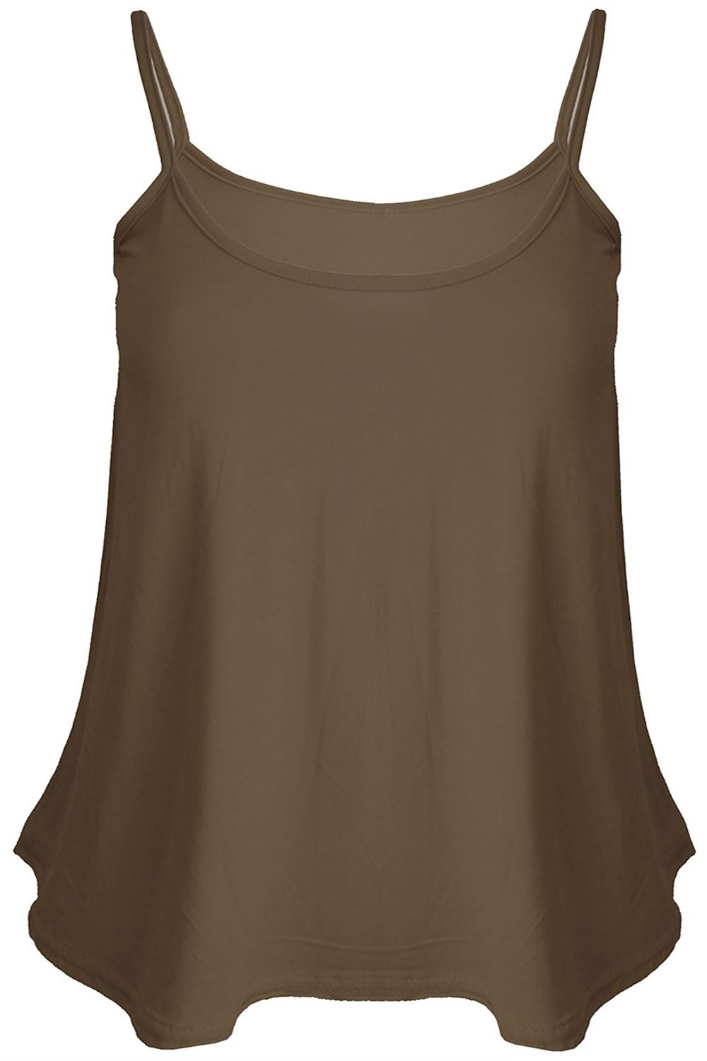 New Ladies Plain//Printed Swing Vest Sleeveless Top Strappy Cami Womens Plus Size