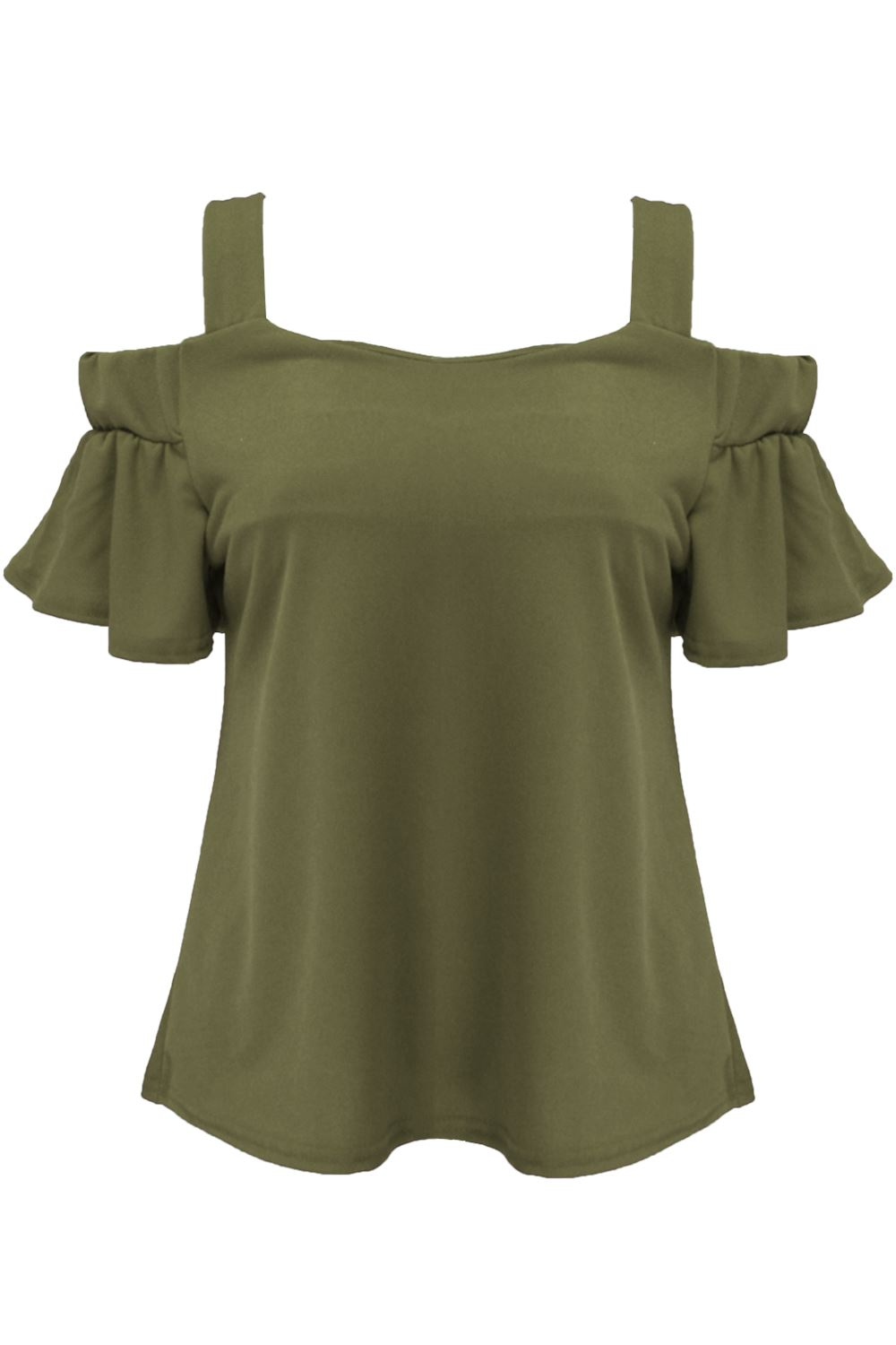 398bb339664d3e Womens Party Strappy Off Cold Shoulder Bardot Top Ladies Bell Sleeve ...