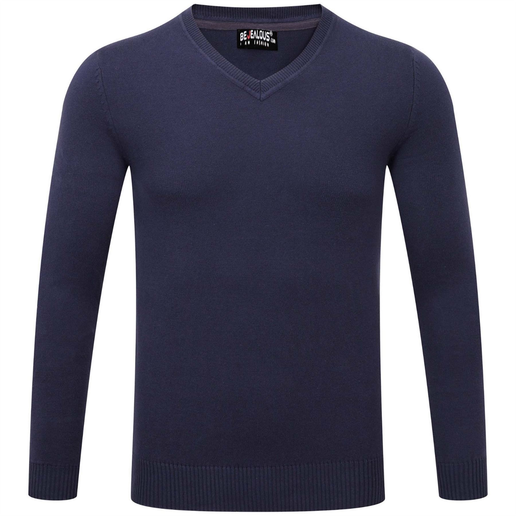 New-Mens-Long-Sleeve-Sweatshirt-Fine-Guage-V-Neck-Jumper-Casual-Sweater-Pullover thumbnail 5