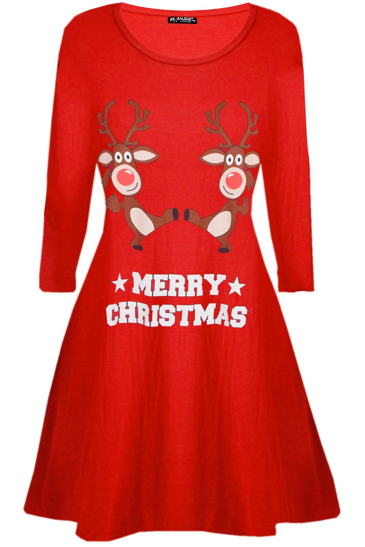 Womens-Ladies-Christmas-Xmas-Santa-Face-Gifts-Reindeer-Flared-Swing-Mini-Dress thumbnail 3