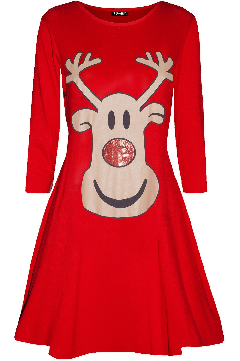 Womens-Ladies-Kids-Girls-Christmas-Xmas-Santa-Reindeer-Flared-Swing-Mini-Dress thumbnail 27