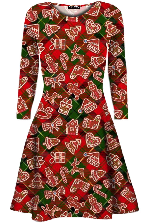 Womens-Christmas-Mini-Smock-Swing-Dress-Ladies-Santa-Gift-Candy-Penguin-Reindeer