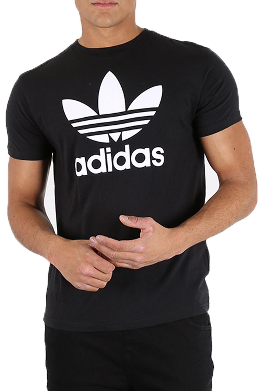 adidas herren original streifen kurzarm rundhalsausschnitt regul re trefoil baumwolle t shirt ebay. Black Bedroom Furniture Sets. Home Design Ideas