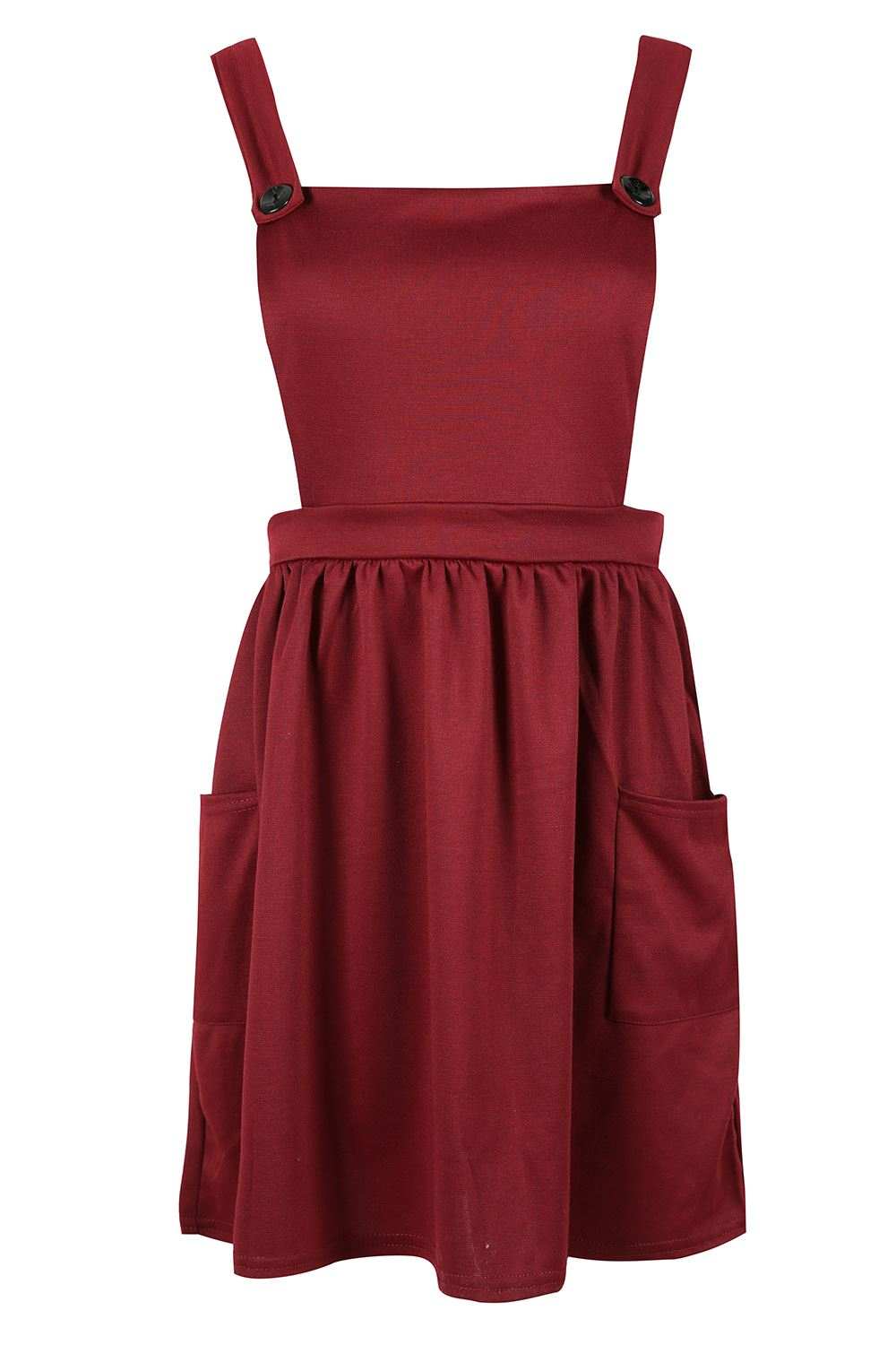 Womens-Ladies-Dungarees-Pinafore-Cross-Back-Strappy-Skater-Flared-Dress-Playsuit thumbnail 3