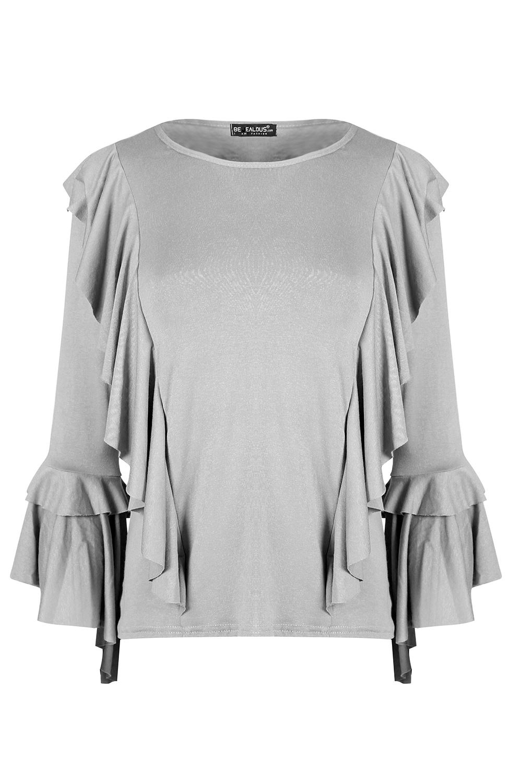 Womens Ladies Double Peplum Ruffle Frill Choker V Plunge Long Sleeve T-Shirt Top
