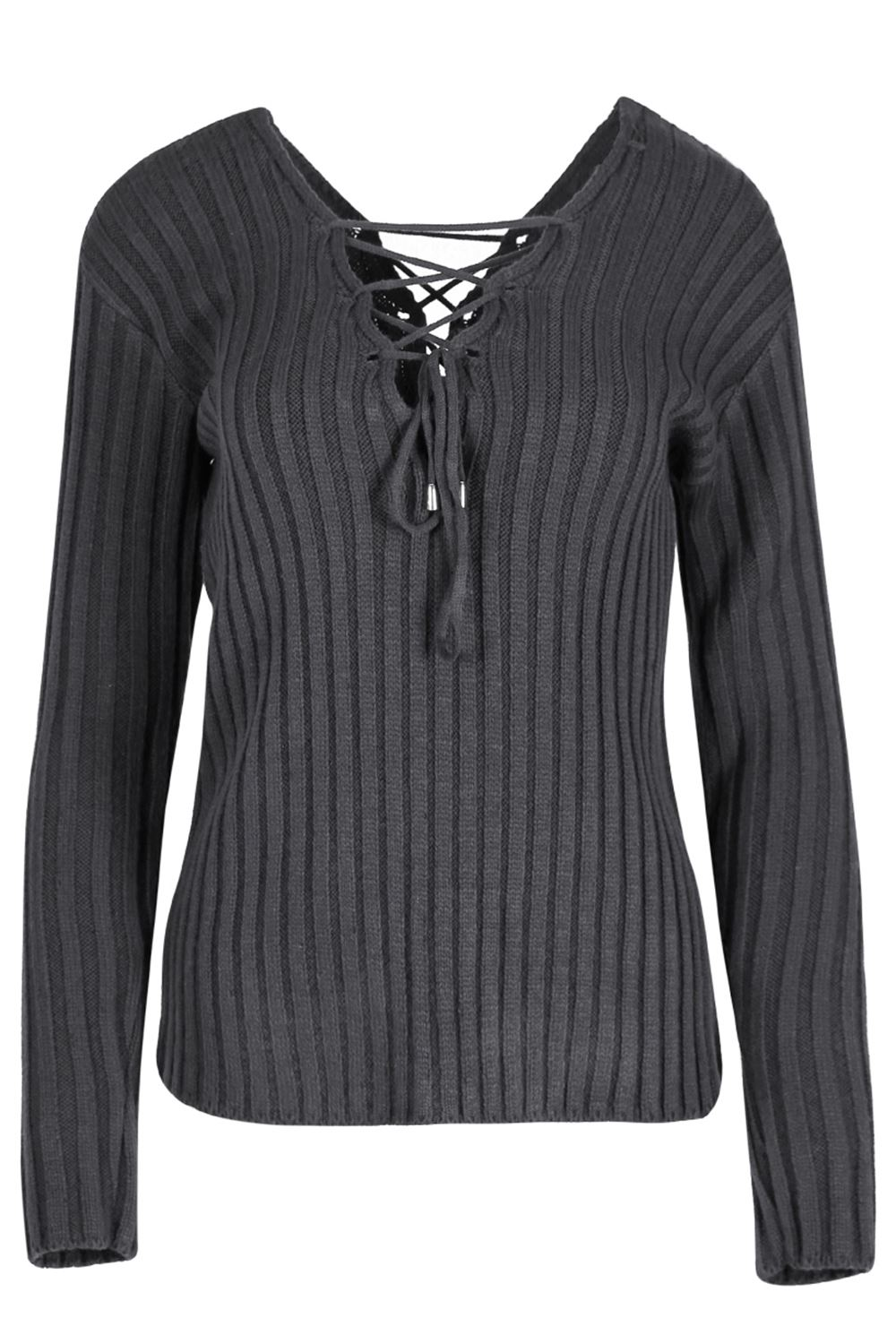77a512be7a Womens Ladies Jumper V Neck Long Sleeve Front Back Eyelet Lace Up ...
