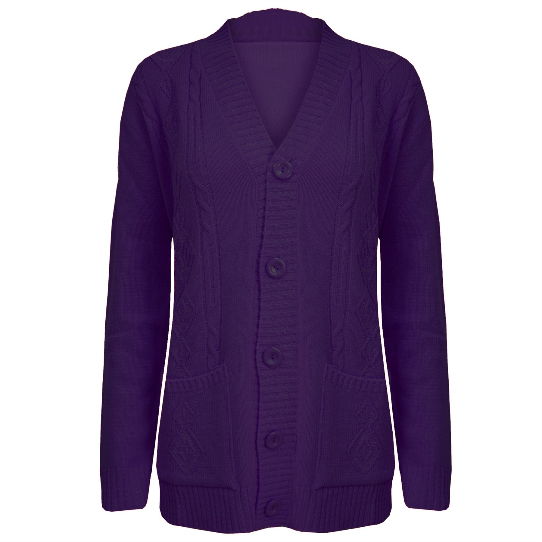 Women-Grandad-Cardigan-Ladies-Button-Up-Long-Sleeve-Chunky-Cable-Knit-Pocket-Top