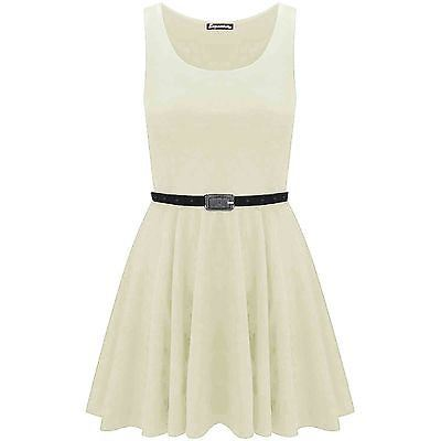 New-Womens-Ladies-Belted-Sleeveless-Franki-Flared-Party-Swing-Skater-Dress-Top thumbnail 4