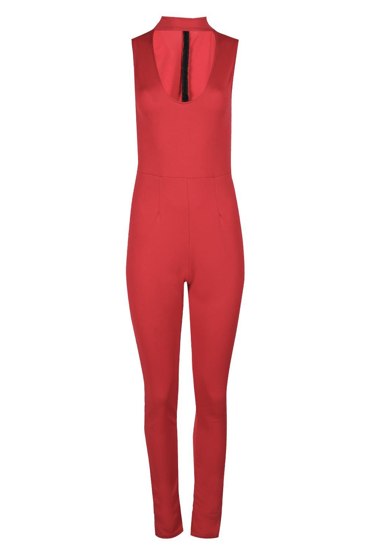 Womens Ladies Turtle Plunge Neck Keyhole Sleeveless Back Zip Scuba Jumpsuit