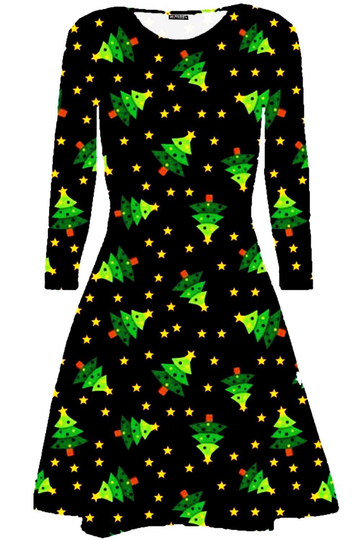 Womens-Xmas-Ladies-Santa-Snowman-Reindeer-Flare-Christmas-Smock-Swing-Mini-Dress thumbnail 18