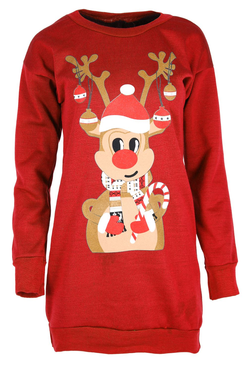 womens ladies christmas fleece snowman tree long tunic sweatshirt jumper dress ebay. Black Bedroom Furniture Sets. Home Design Ideas
