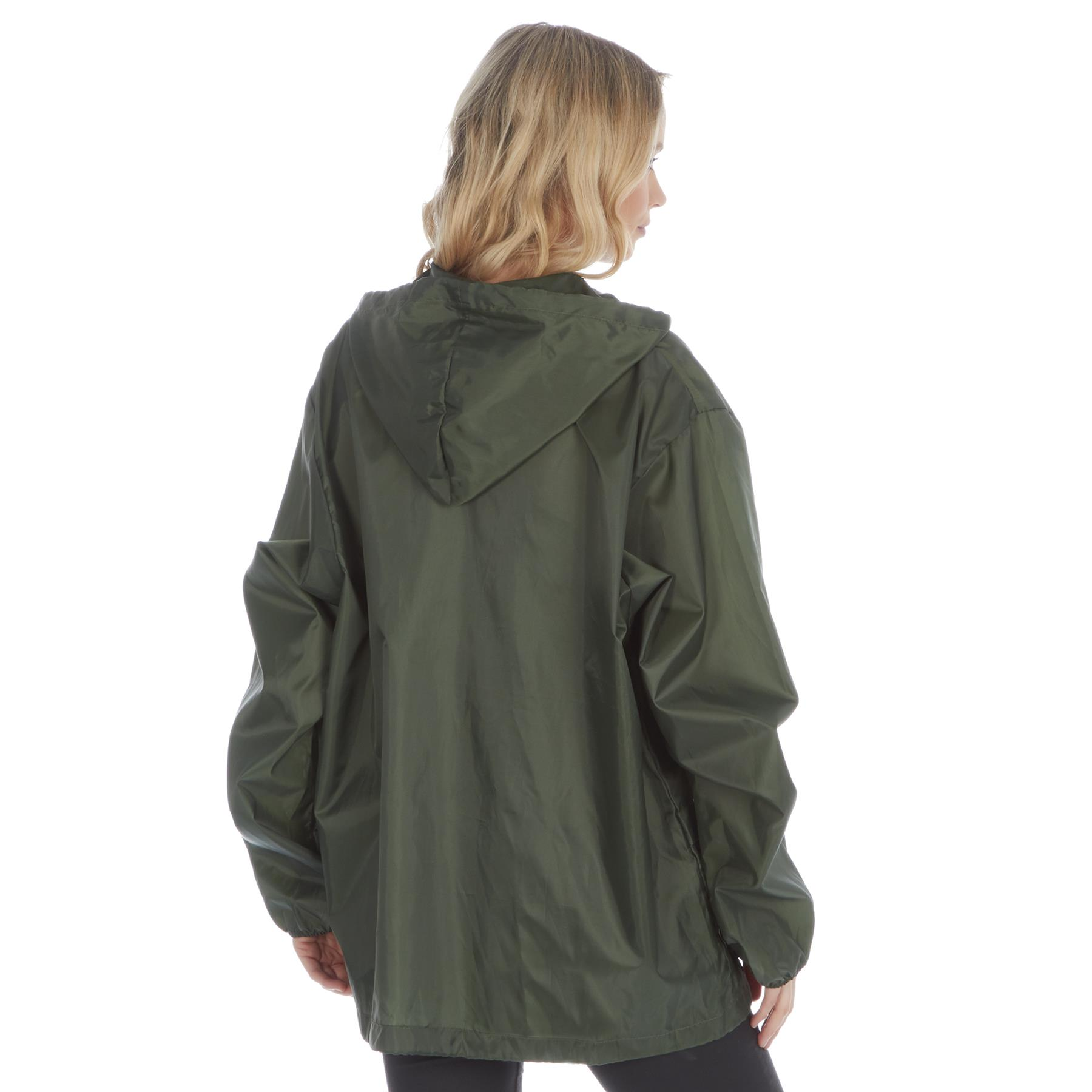 Men//Women Plain Rain Coat Mac Kagoul Jacket Water Proof Hooded Cagoul Adults Pac