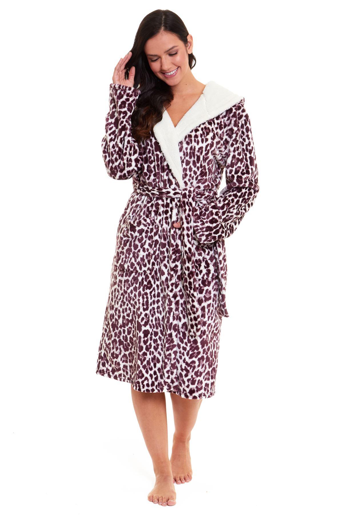Womens Ladies Teddy Fleece Lined Dressing Gown Fluffy Snuggle Soft Warm Robe Ebay