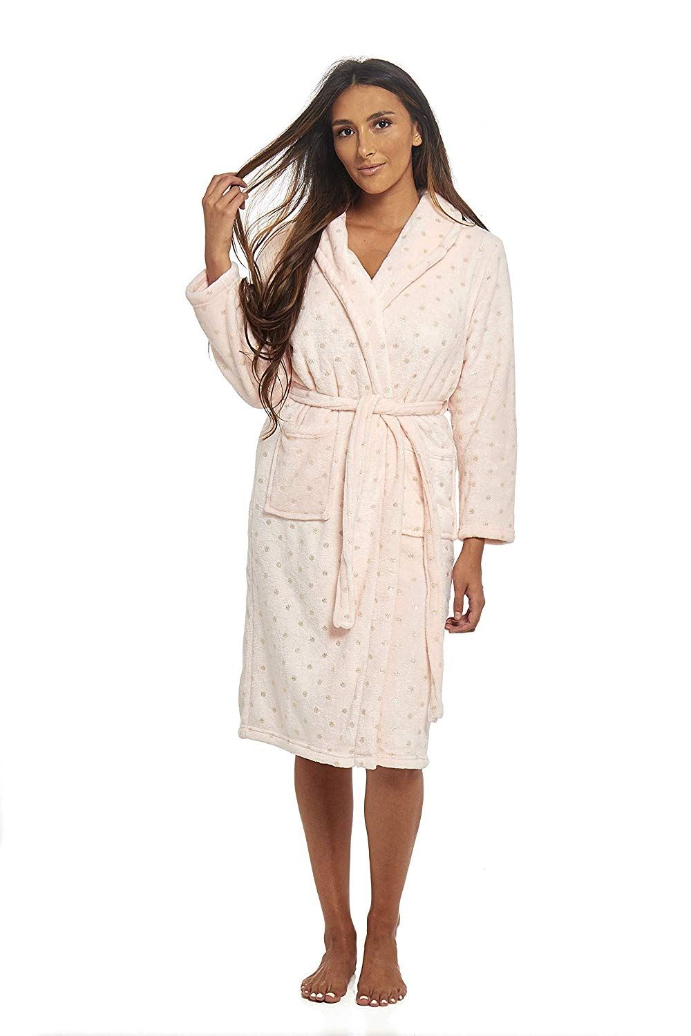 Womens Ladies Dressing Gown Super Soft Coral Fleece Robe Wrap ... 237457ea3