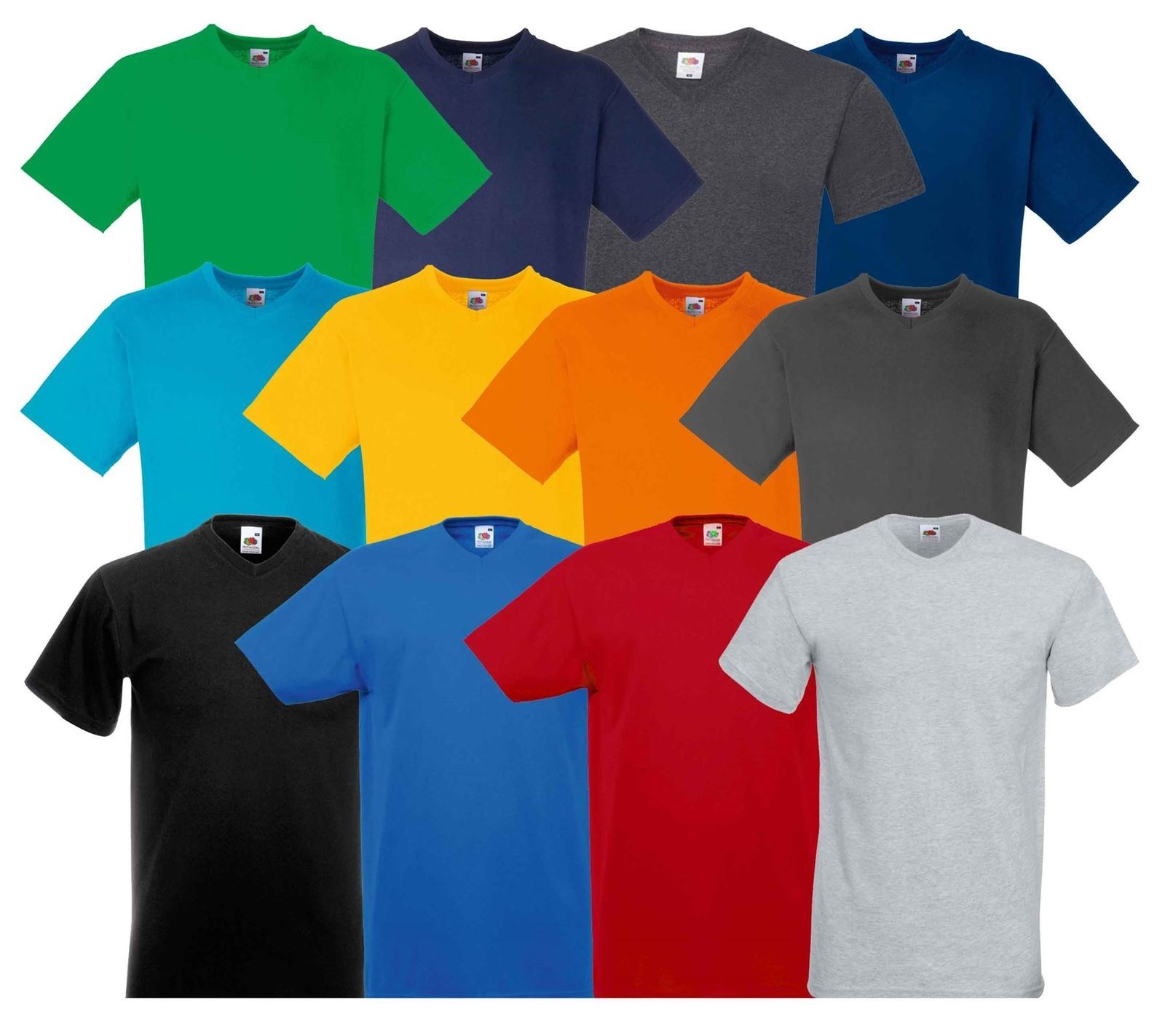 Mens Fruit Of The Loom Valueweight V-Neck Tshirt Top Base Layer Short Sleeve