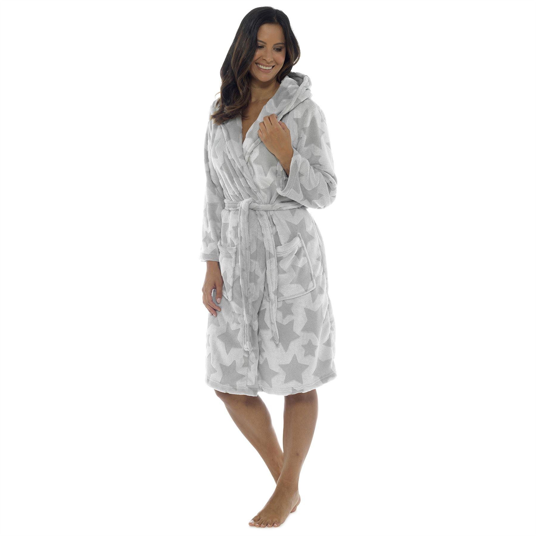 8339002210 Womens Ladies Dressing Gown Hooded Star Print Snuggle Fleece Soft ...