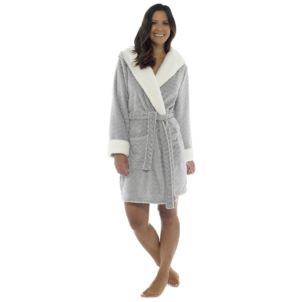 Ladies Luxurious Soft Dressing Gown Hooded Plain Fluffy Snuggle