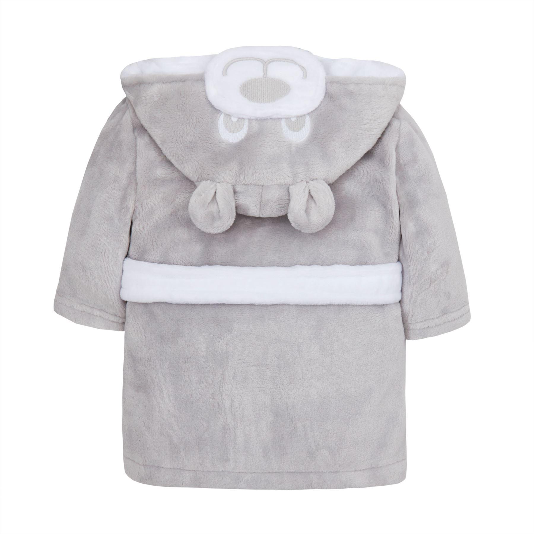 Baby Dressing Gown Robe Toddler 6-24 M Hooded Fleece Duck Elephant Novelty