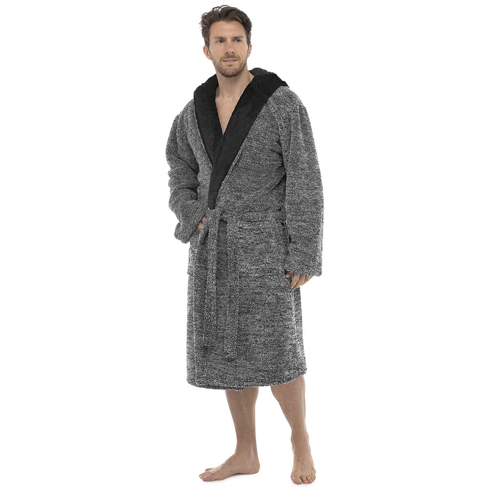 Mens Luxury Super Soft Fleece Dressing Gown Bath Robe Hooded Thick ...