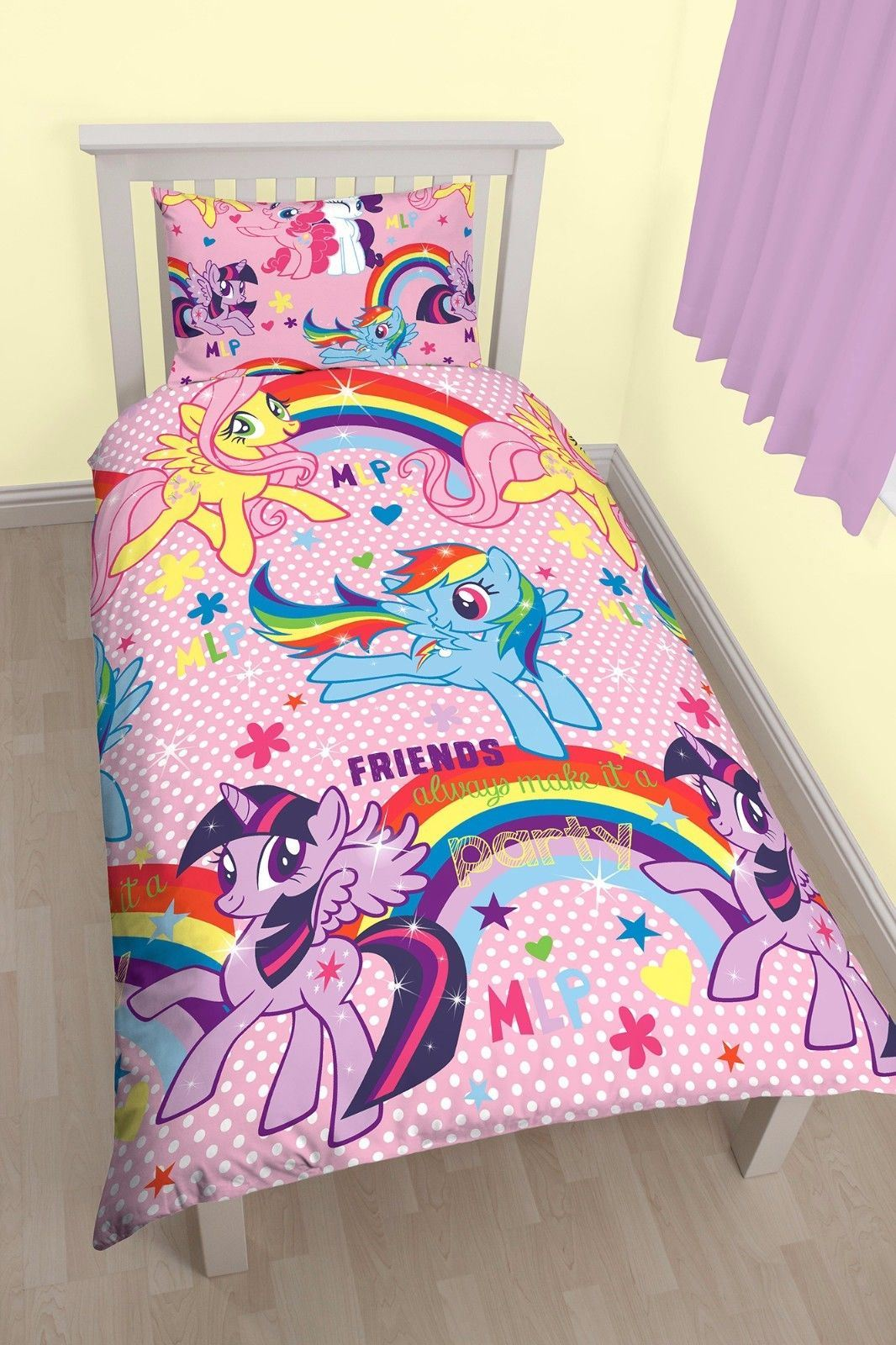 REVERSIBLE MY LITTLE PONY EQUESTRIA SINGLE DUVET COVER BED ...