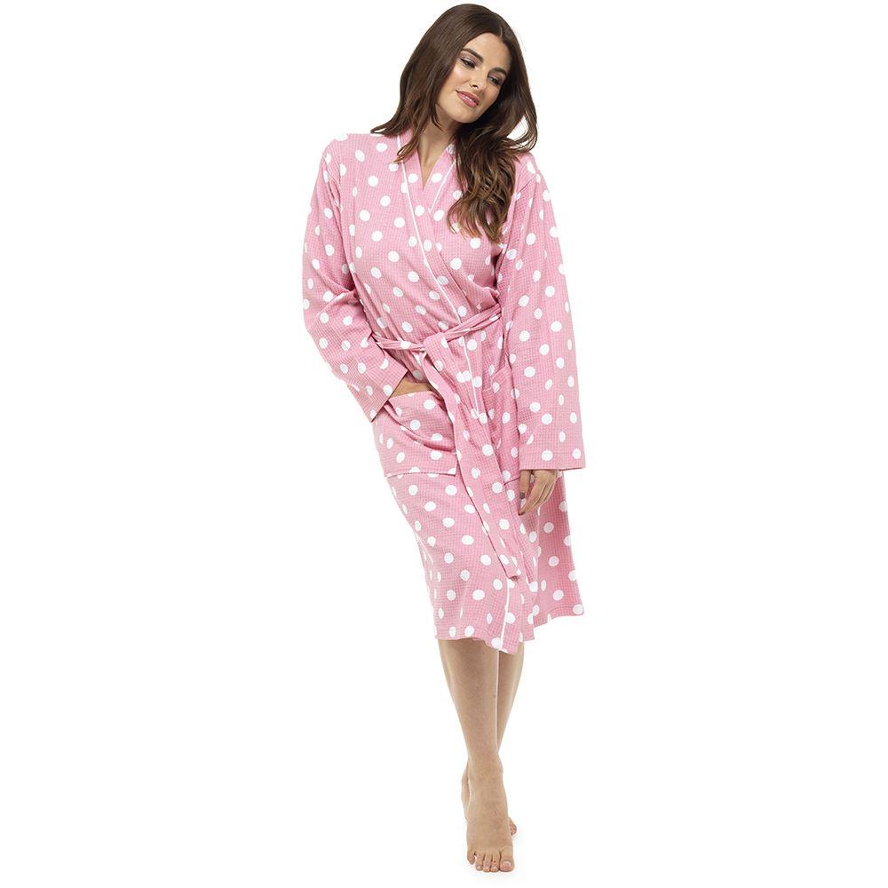 Womens Ladies Bath Robe Dressing Gown Cotton Spa Hotel Waffle Polka ...