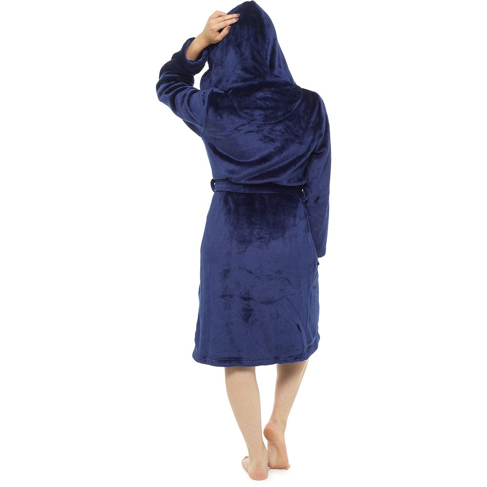 Womens Ladies Luxurious Soft Dressing Gown Robe Hooded Plain Fluffy Snuggle Gift