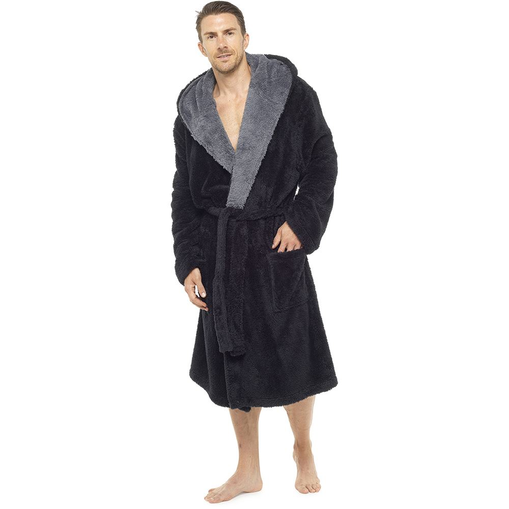 a7bd93e032 Mens Luxury Super Soft Fleece Dressing Gown Bath Robe Plush Thick ...