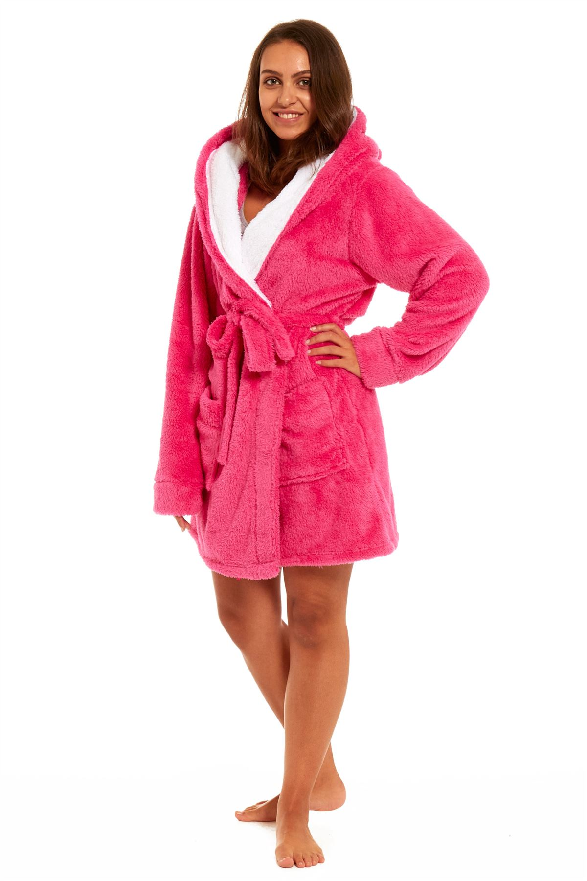 Ladies Luxurious Soft Dressing Gown Hooded Plain Fluffy Snuggle ...