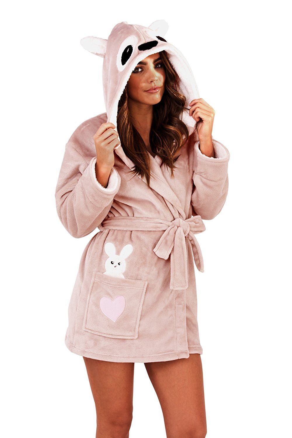 Ladies Women Luxury Dressing Gown Soft Robe Animal Character Cosy ...