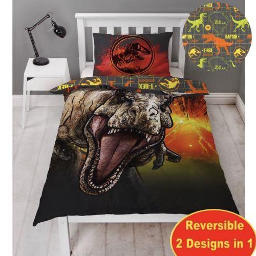 Reversible Jurassic Park World Duvet Cover Bed Set Dinosaurs Kids