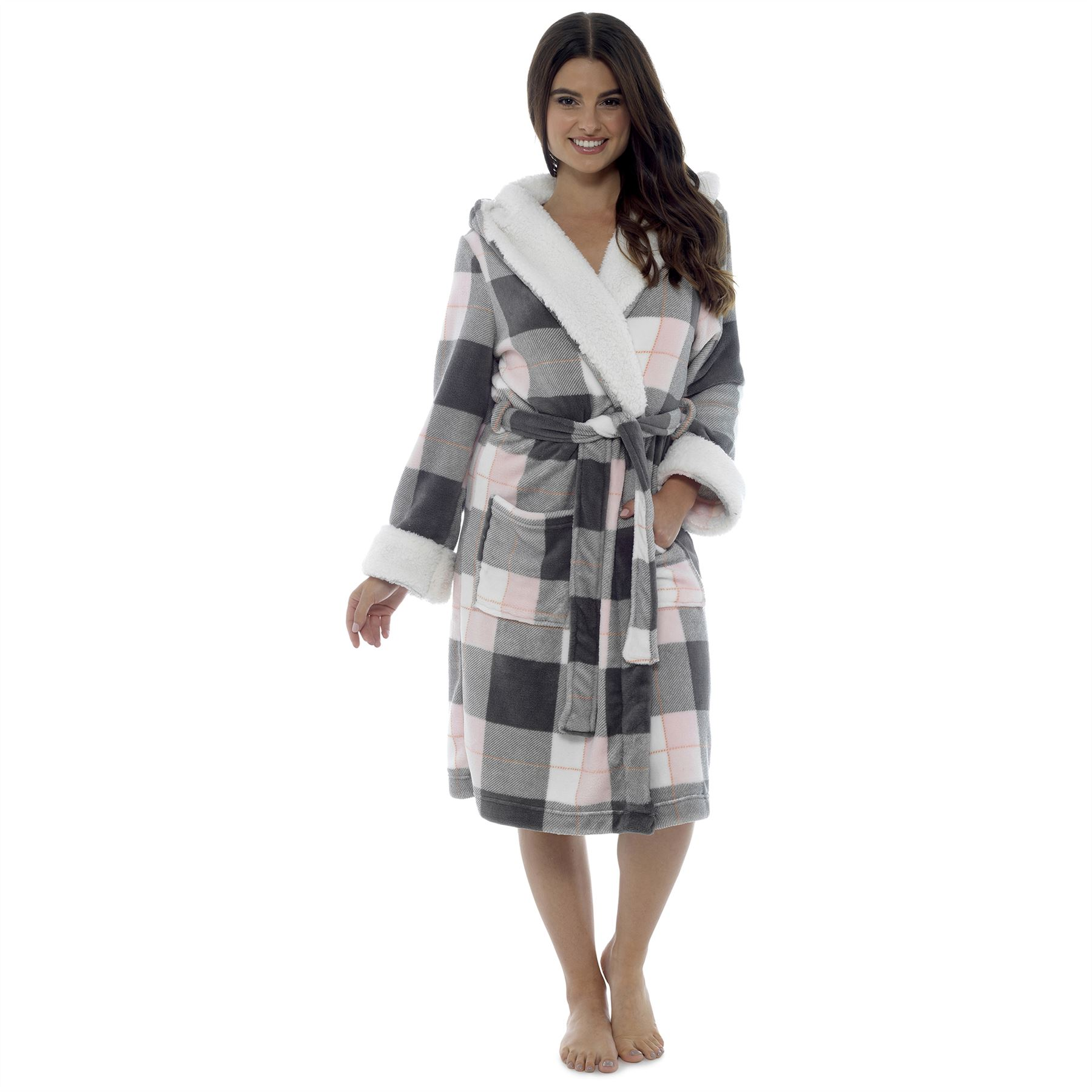 Ladies Womens Dressing Gown Bathrobe Soft Warm Cosy Luxury Hooded ... 4deec3bf2