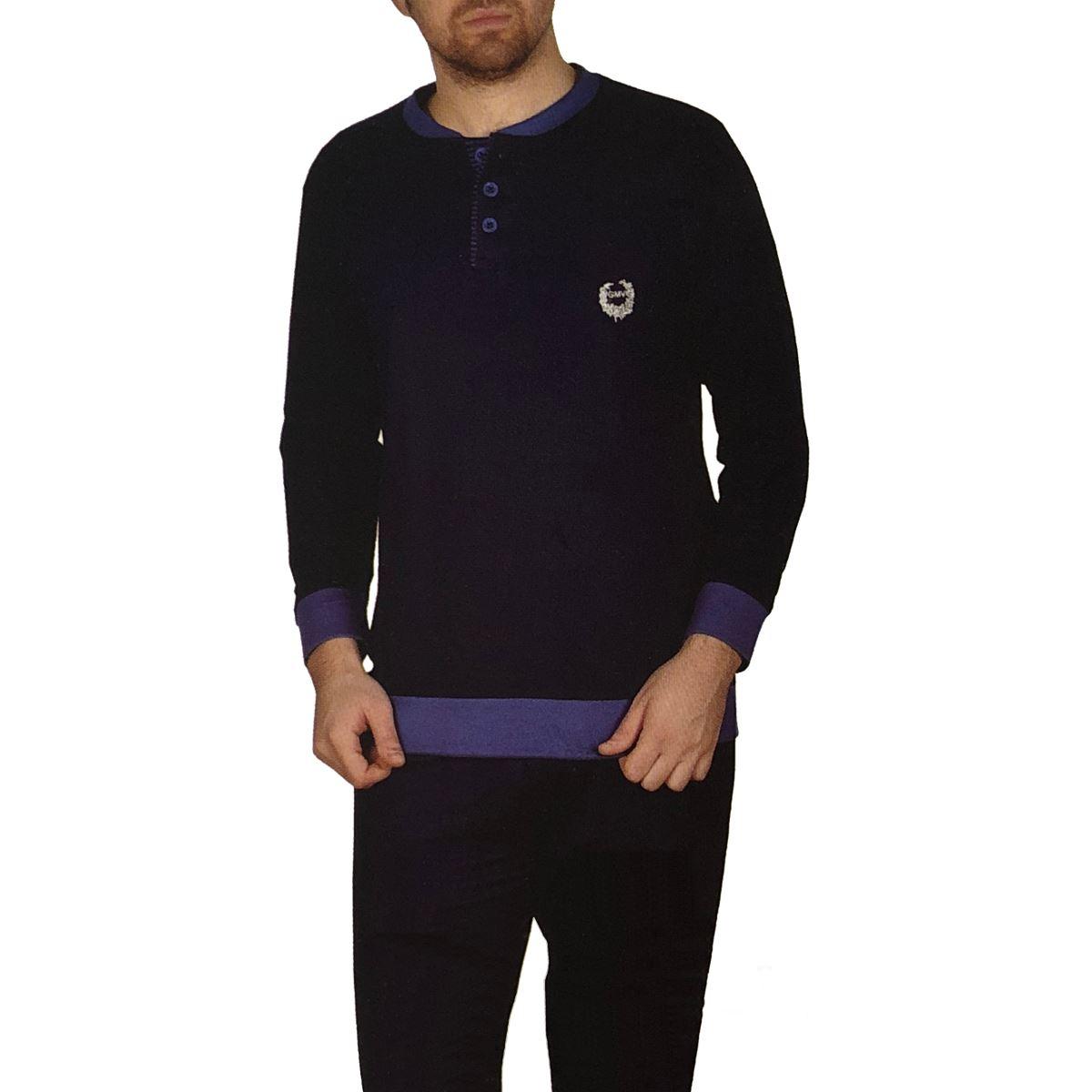 New-Mens-100-Cotton-Pyjamas-Pjs-Loungewear-Set-Nightwear-Longsleeve-Top-amp-Pant
