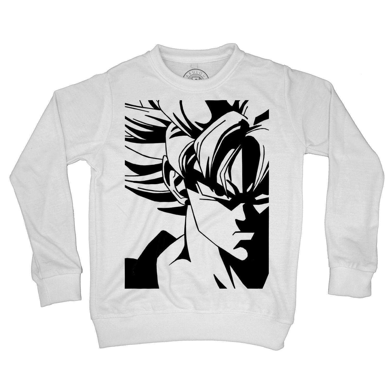 Détails Sur Sweat Shirt Enfant Dragon Ball Super Son Goku Super Saiyan Noir Et Blanc